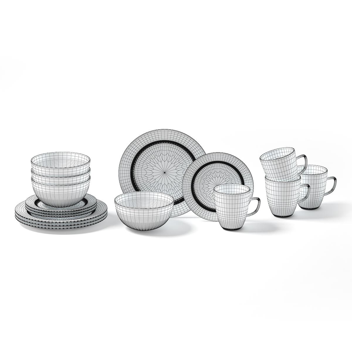 Grey Dishes Set 3D Model