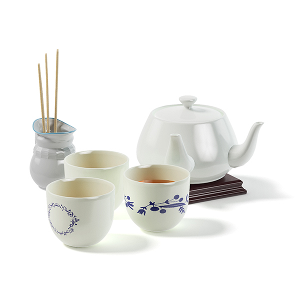 Tea Set 3D Model - 3DOcean Item for Sale
