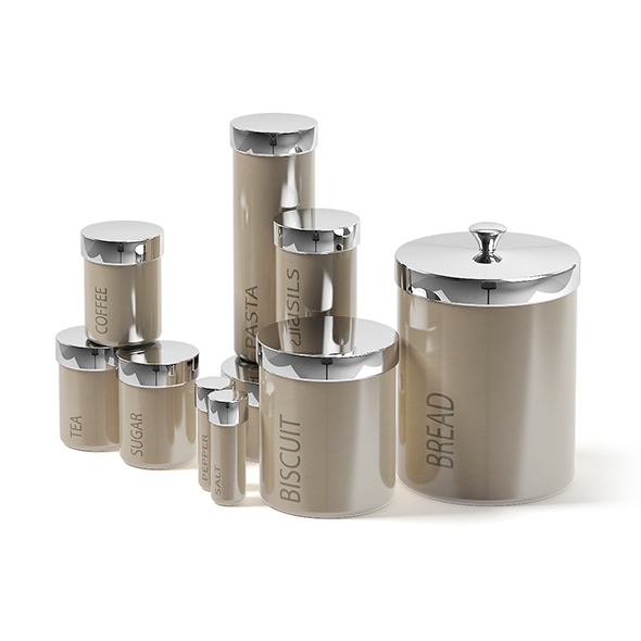 Spice Containers Set 3D Model - 3DOcean Item for Sale