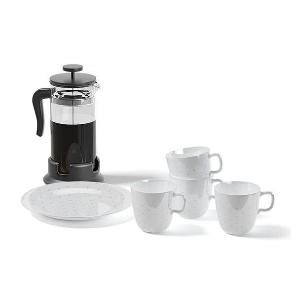 Tea Set and Tea Infuser 3D Model - 3DOcean Item for Sale