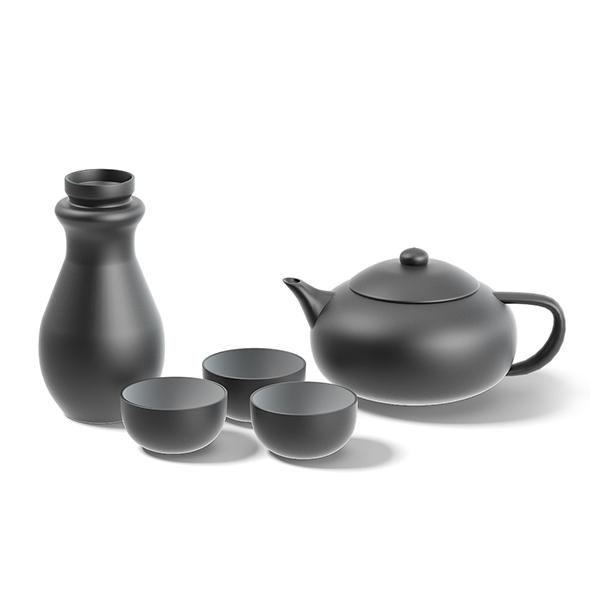 Black Tea Set 3D Model - 3DOcean Item for Sale