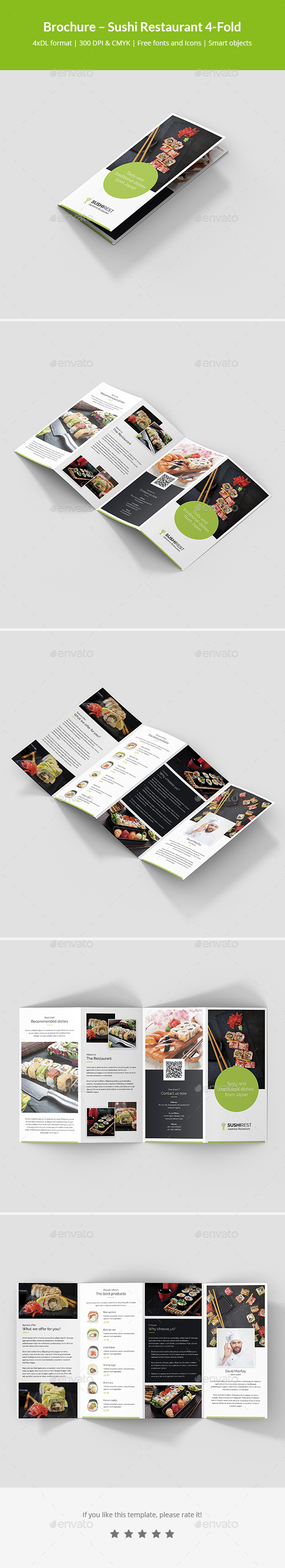 Brochure – Sushi Restaurant 4-Fold - Informational Brochures