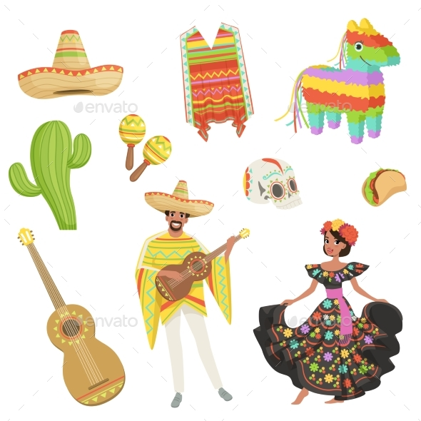 Set of Cultural Symbols for Mexico - People Characters