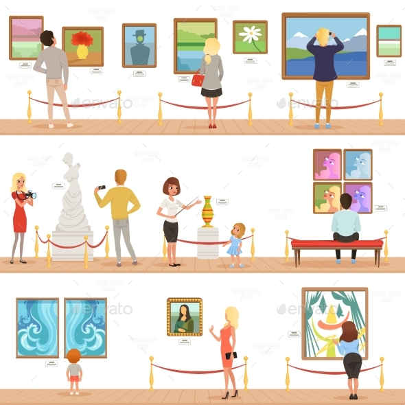 Cartoon Visitors and Guide Characters in Art - People Characters