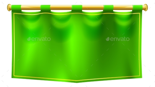 Medieval Green Royal Banner Flag - Backgrounds Decorative