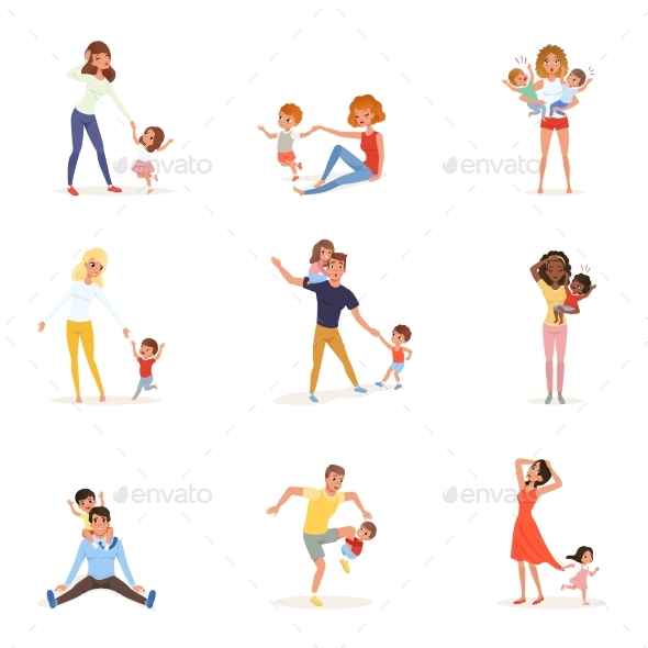 Set of Tired Parents with Children - People Characters