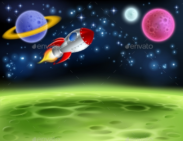 Outer Space Planet Cartoon Background - Backgrounds Decorative