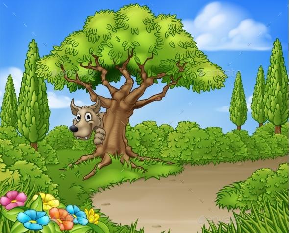 Big Bad Wolf Peeking From Tree - Backgrounds Decorative