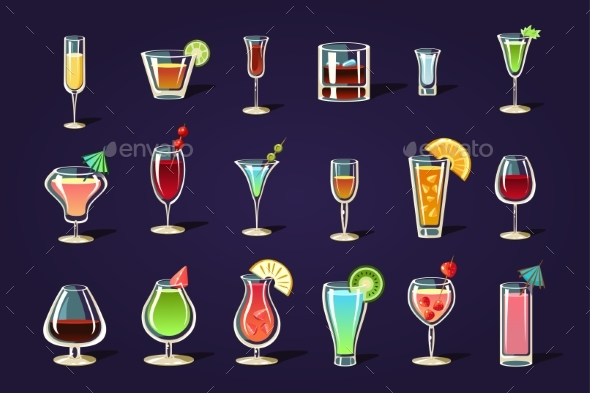 Flat Vector Set with Different Transparent Glasses - Food Objects