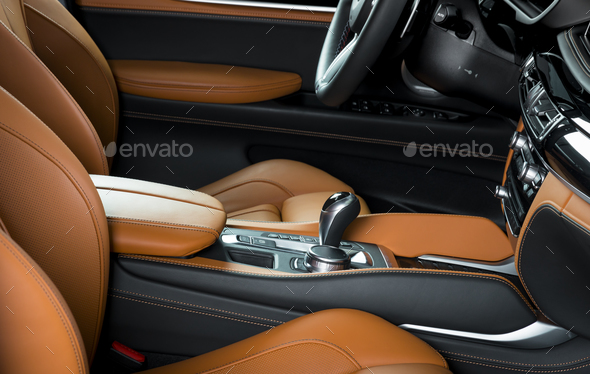Car dashboard, modern luxury interior, steering wheel - Stock Photo - Images