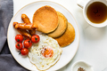 Pancake with Fried egg,Sausages and Cherry Tomatoes - PhotoDune Item for Sale