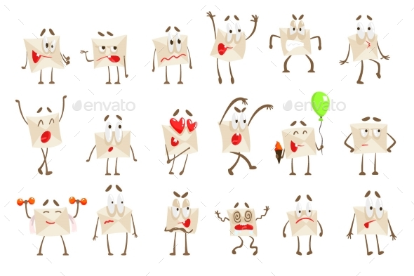 Letter Paper Envelop Cartoon Character Emotion - Miscellaneous Characters