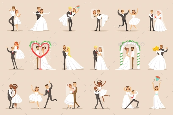 Newlyweds Posing and Dancing - People Characters
