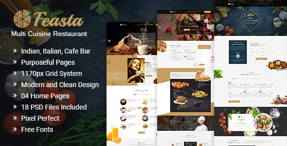 Feasta - Multi Cuisine Restaurant PSD Template - Restaurants & Cafes Entertainment