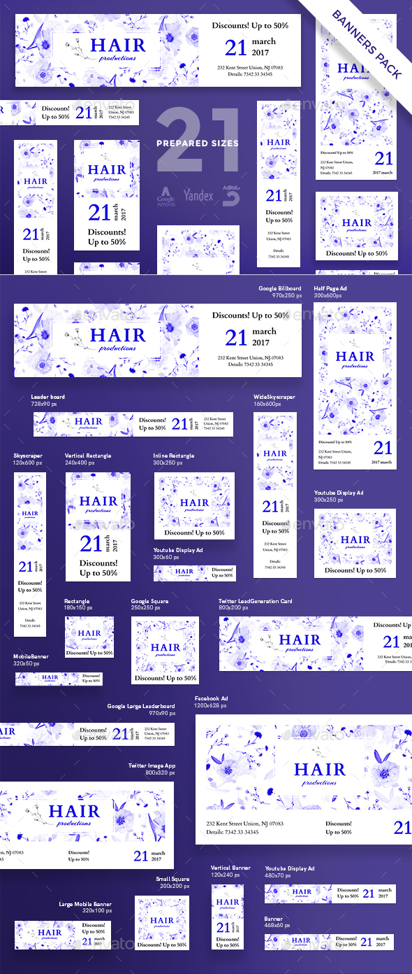Hair Productions Banner Pack - Banners & Ads Web Elements