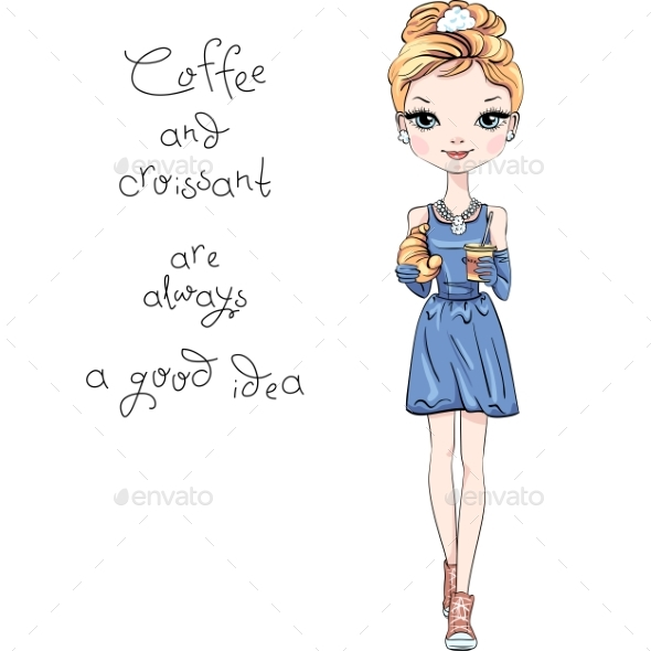 Vector Fashion Girl with Coffee and Croissant - Miscellaneous Vectors