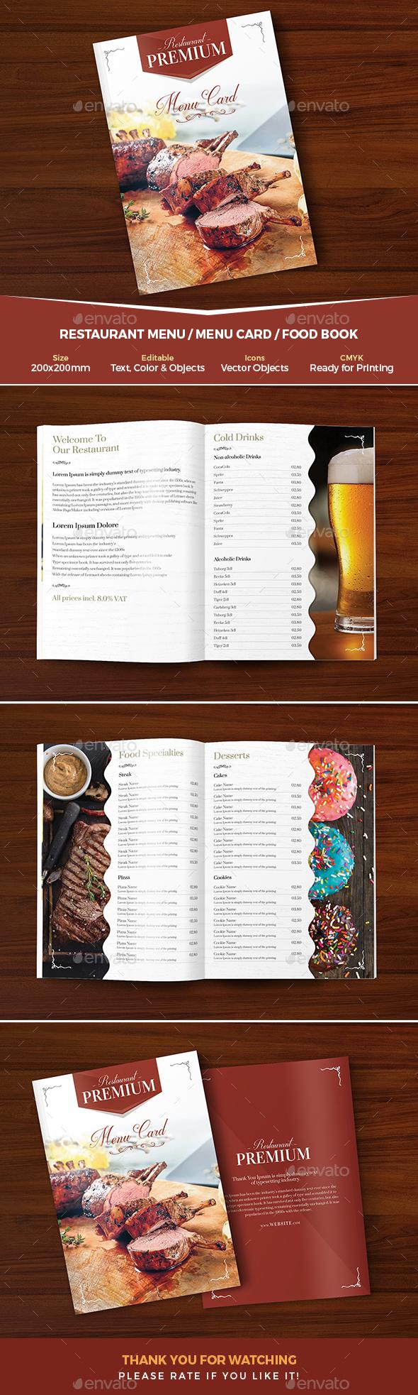Restaurant Menu / Menu Card - Food Menus Print Templates