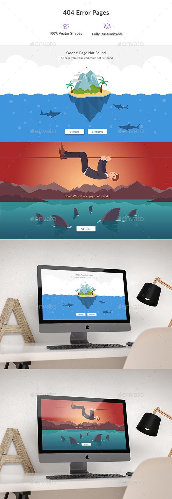 404 Error Pages - 404 Pages Web Elements
