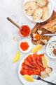 Delicious lunch with salted salmon, red caviar, fresh bread and - PhotoDune Item for Sale