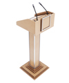 Wooden tribune for speaking, reading lectures. Rostrum for the performance. 3d rendering - PhotoDune Item for Sale