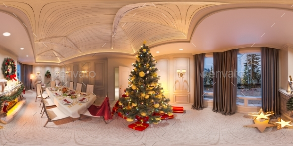 Seamless 360 Panorama Christmas Interior - Architecture 3D Renders