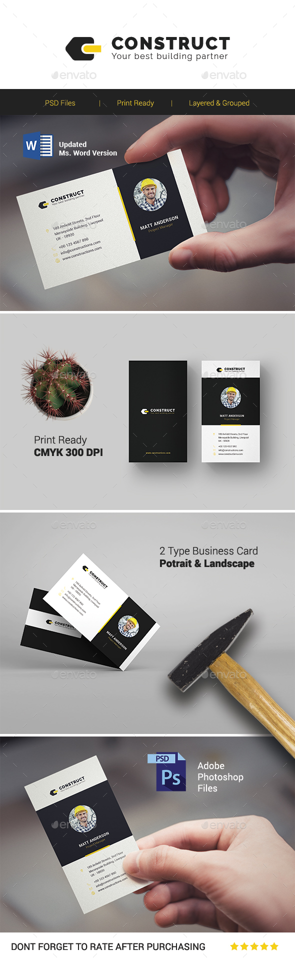 Construct multipurpose business card template by onegraphics construct multipurpose business card template business cards print templates reheart Image collections