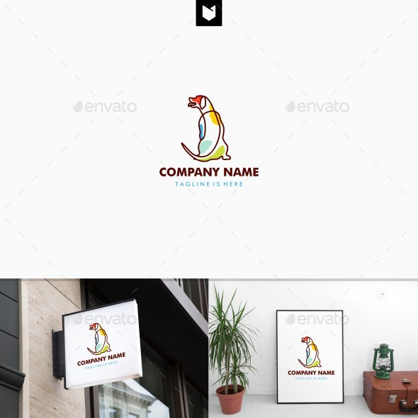 Sitting Dog Logo Template - Animals Logo Templates