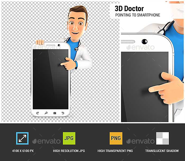 3D Doctor Pointing to Blank Smartphone - Characters 3D Renders
