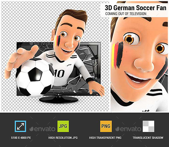 3D German Soccer Fan Coming out of Television - Characters 3D Renders