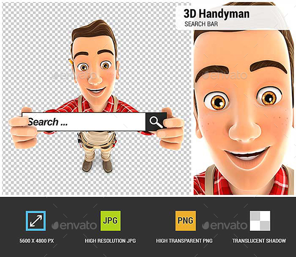 3D Handyman Holding a Search Bar - Characters 3D Renders