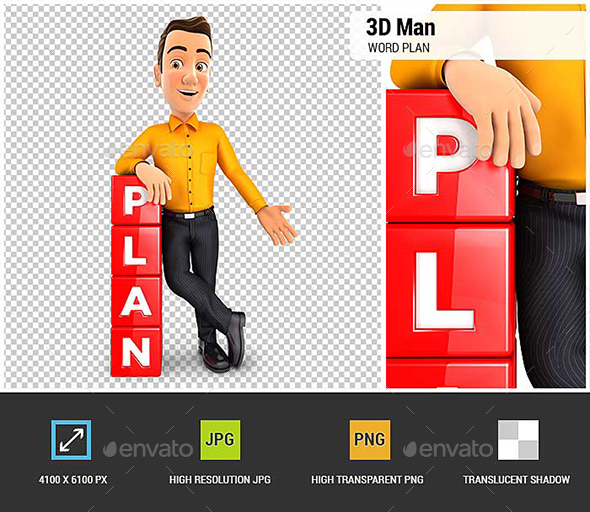3D Man Leaning Against Cubes with the Word Plan - Characters 3D Renders