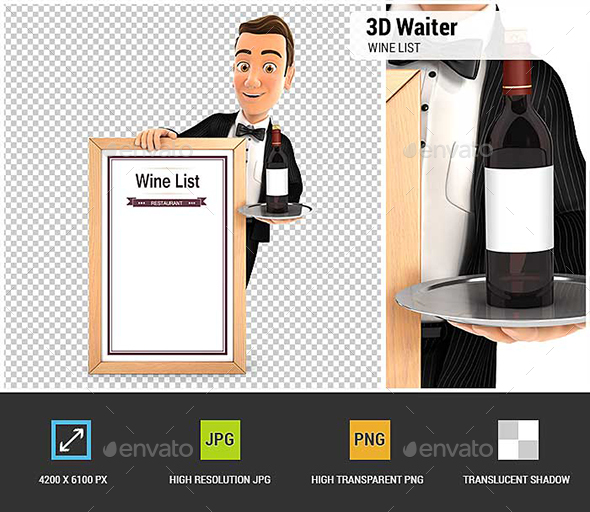 3D Waiter with Wine List - Characters 3D Renders