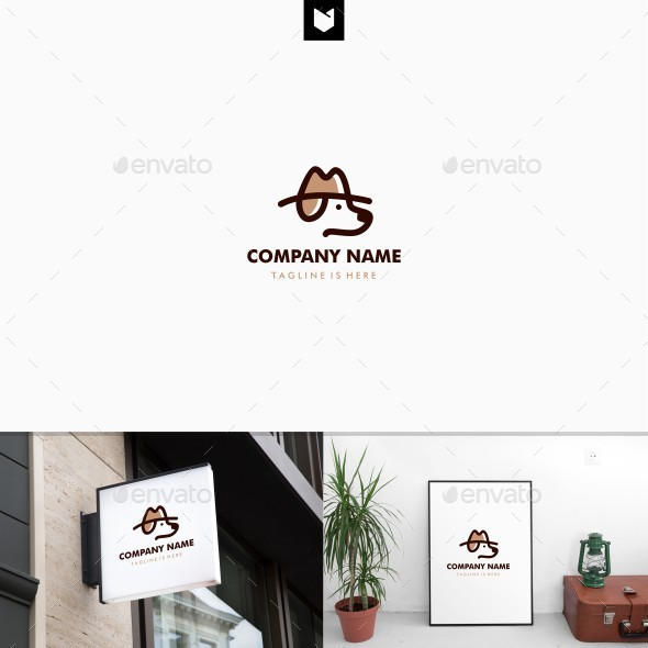 Dog Hat Detective Logo Template - Animals Logo Templates