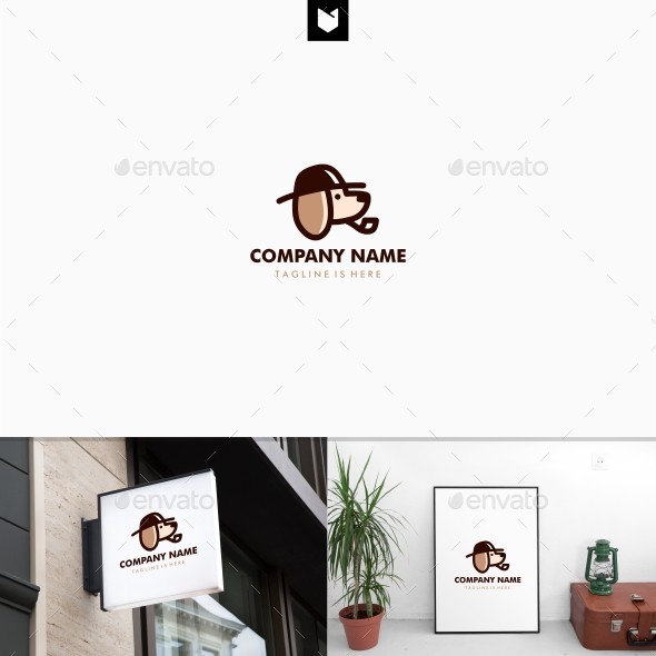 Dog Detective Using Hat and Smoking Pipe Logo - Animals Logo Templates