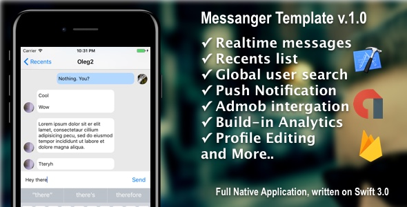 Messanger Starter Template + Firebase + AdMob [iOS] - CodeCanyon Item for Sale