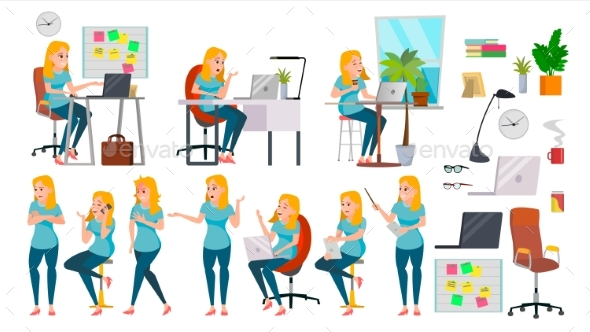 Business Woman Lady Character Vector. Working - Business Conceptual