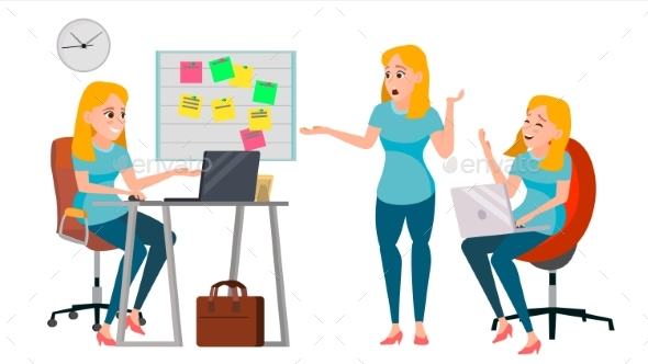 Business Woman Character Vector. Working Female - Business Conceptual