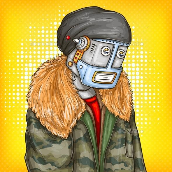 Vector Pop Art Illustration of Robot