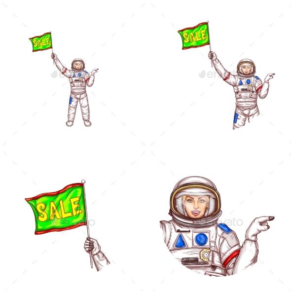 Vector Girl Spaceman Sale Flag Avatar Icon - Miscellaneous Vectors