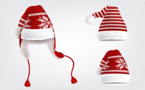 Set of Three Knitted Santa Hats with Pattern - Christmas Seasons/Holidays