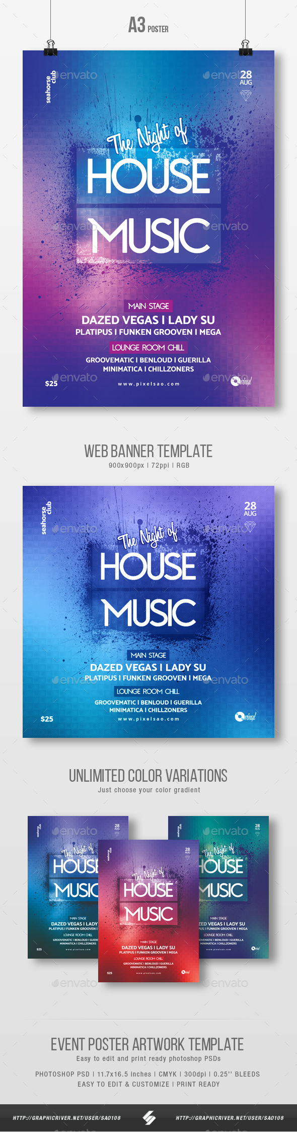 House Music Party Flyer / Poster Template A3 - Clubs & Parties Events