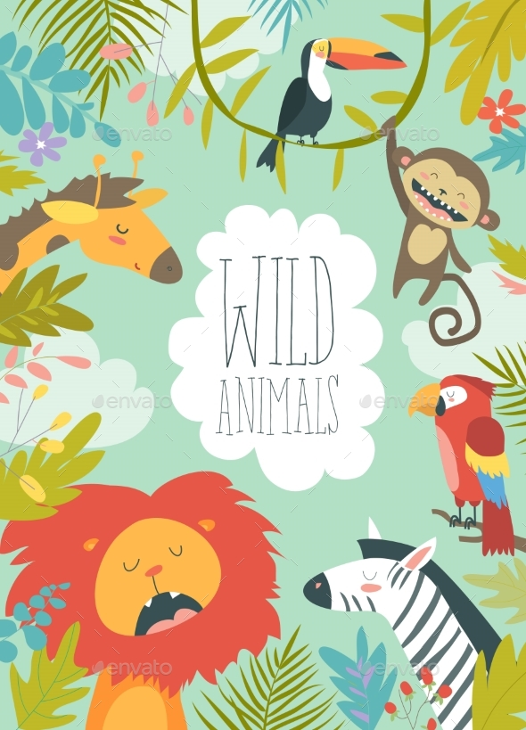 Happy Jungle Animals Creating a Framed Background - Animals Characters