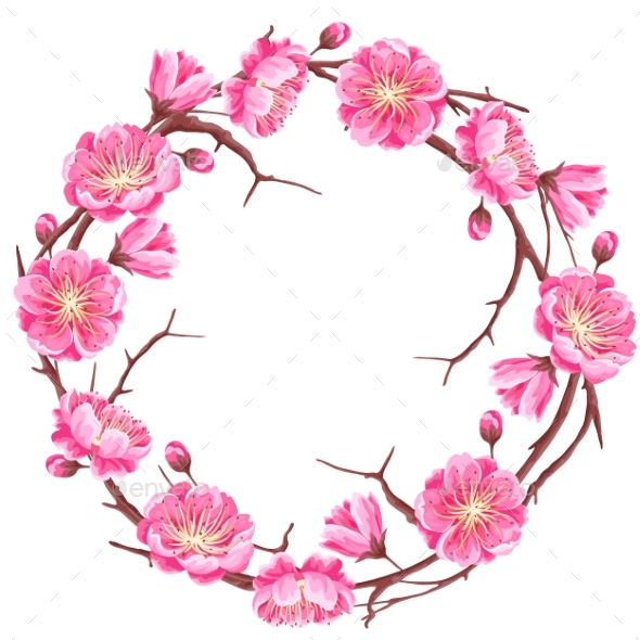 Frame with Sakura or Cherry Blossom - Flowers & Plants Nature