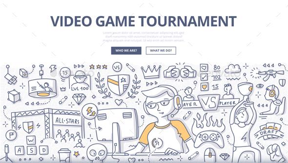 Video Game Tournament Doodle Concept - Miscellaneous Conceptual