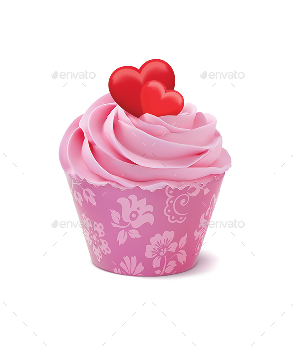 Cupcake or Muffin Decorated with Hearts - Food Objects