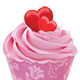 Cupcake or Muffin Decorated with Hearts - GraphicRiver Item for Sale