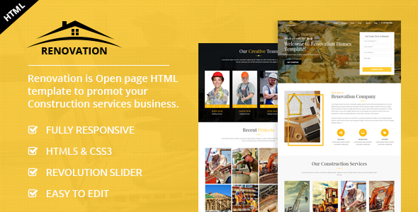 Renovation - Construction Landing Page - Business Corporate