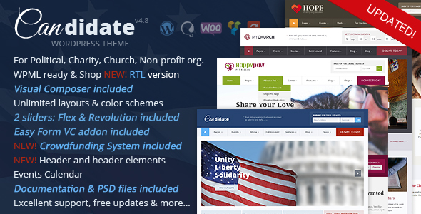 Candidate - Political/Nonprofit/Church WordPress Theme