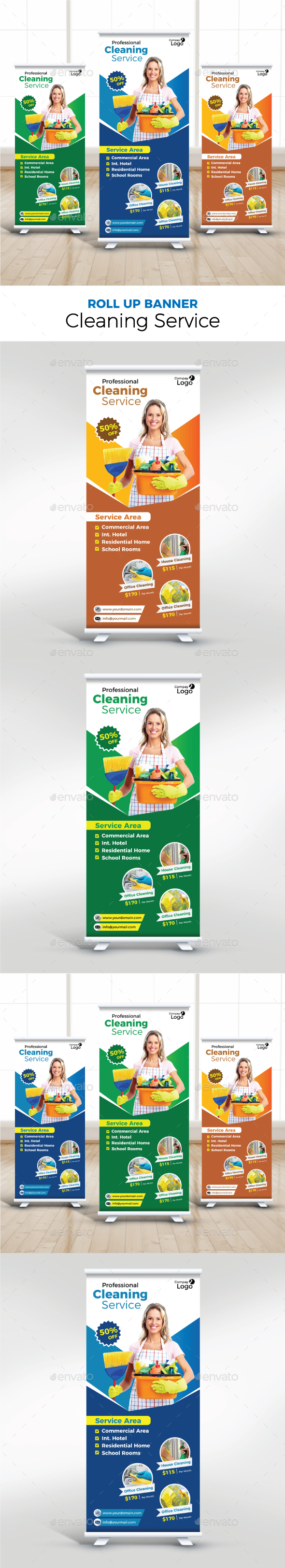 Cleaning Service Roll Up Banner - Signage Print Templates