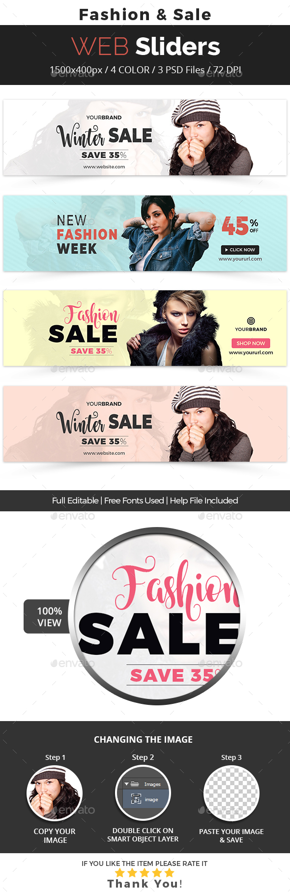 Fashion & Sale Web Slider - Sliders & Features Web Elements